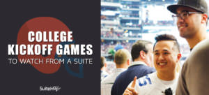 A suite for a college football kickoff game is an exciting corporate entertainment venue!